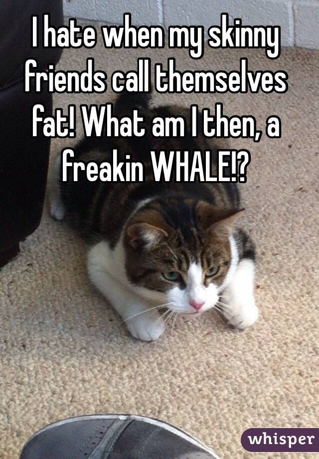 I hate when my skinny friends call themselves fat! What am I then, a freakin WHALE!?