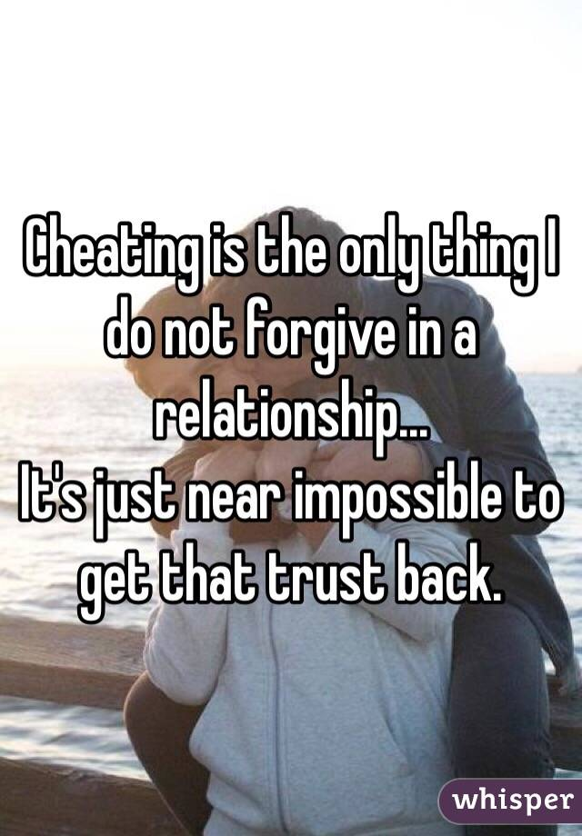 Cheating is the only thing I do not forgive in a relationship... It's just near impossible to get that trust back.