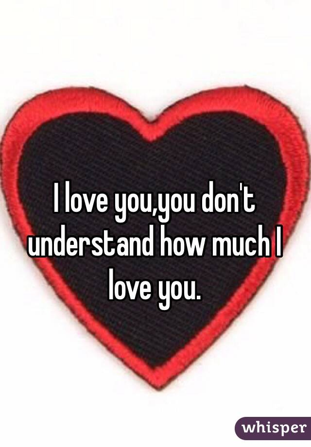 I love you,you don't understand how much I love you.