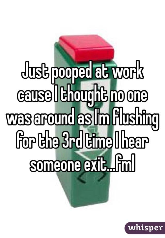 Just pooped at work cause I thought no one was around as I'm flushing for the 3rd time I hear someone exit...fml