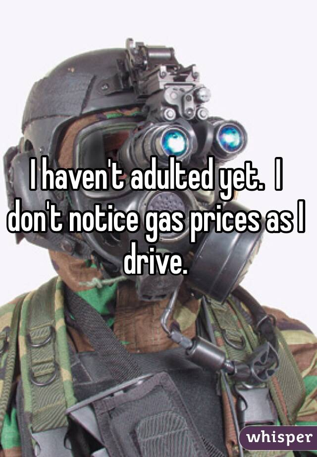 I haven't adulted yet.  I don't notice gas prices as I drive.