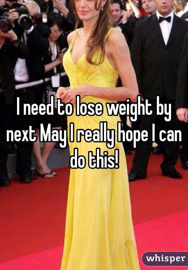 I need to lose weight by next May I really hope I can do this!