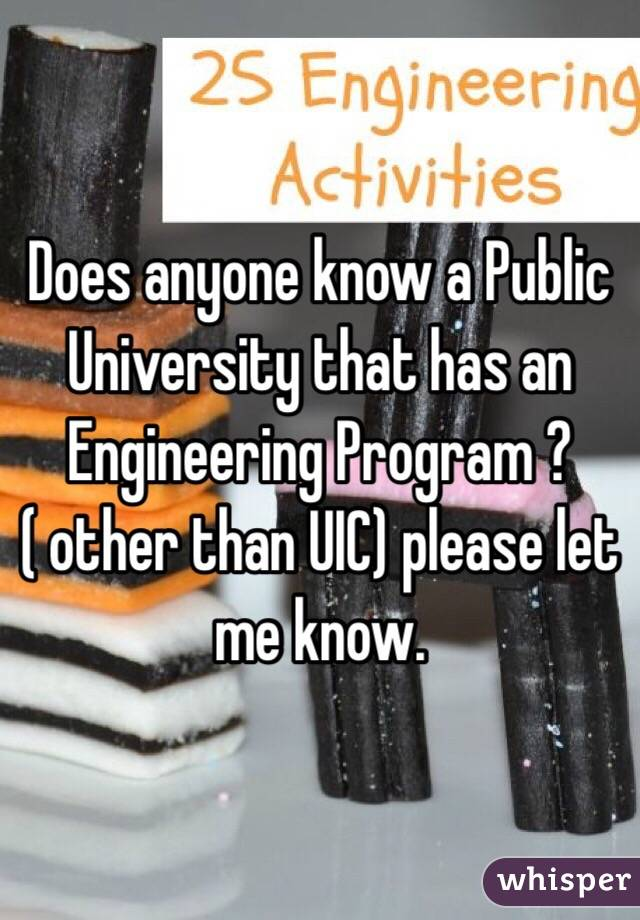 Does anyone know a Public University that has an Engineering Program ? ( other than UIC) please let me know.