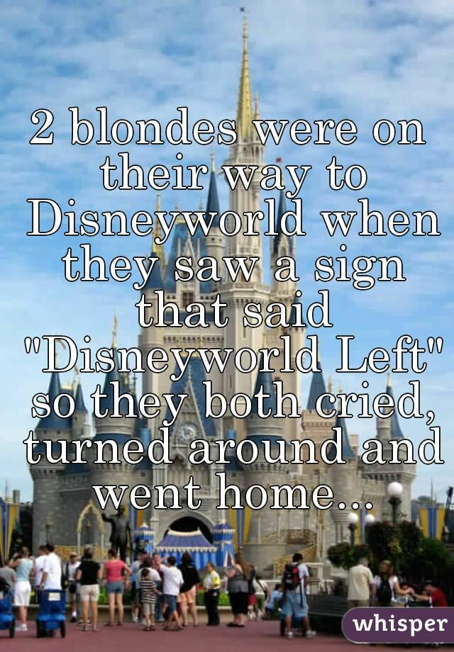 """2 blondes were on their way to Disneyworld when they saw a sign that said """"Disneyworld Left"""" so they both cried, turned around and went home..."""