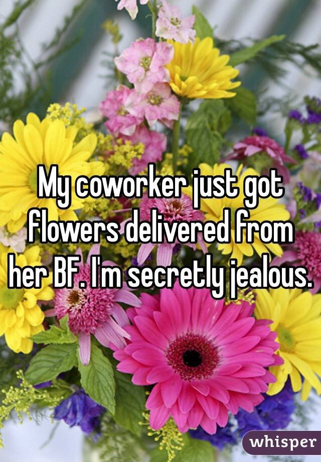 My coworker just got flowers delivered from her BF. I'm secretly jealous.