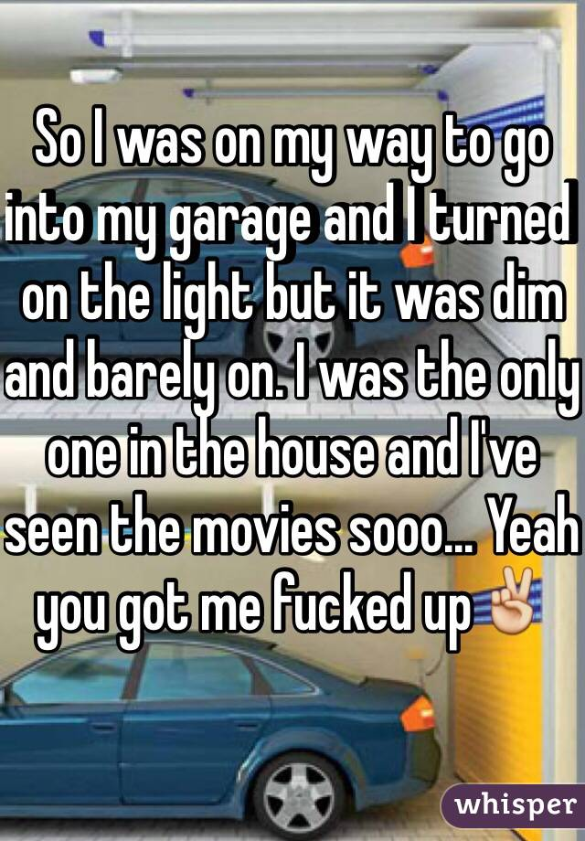 So I was on my way to go into my garage and I turned on the light but it was dim and barely on. I was the only one in the house and I've seen the movies sooo... Yeah you got me fucked up✌️