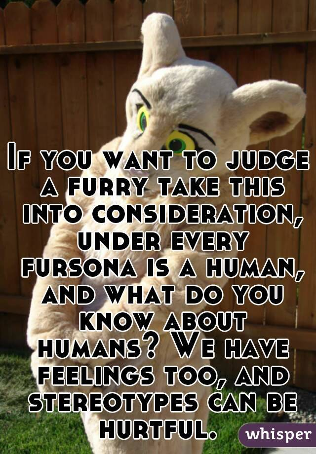 If you want to judge a furry take this into consideration