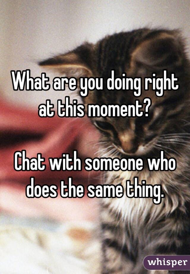 What are you doing right at this moment?  Chat with someone who does the same thing.