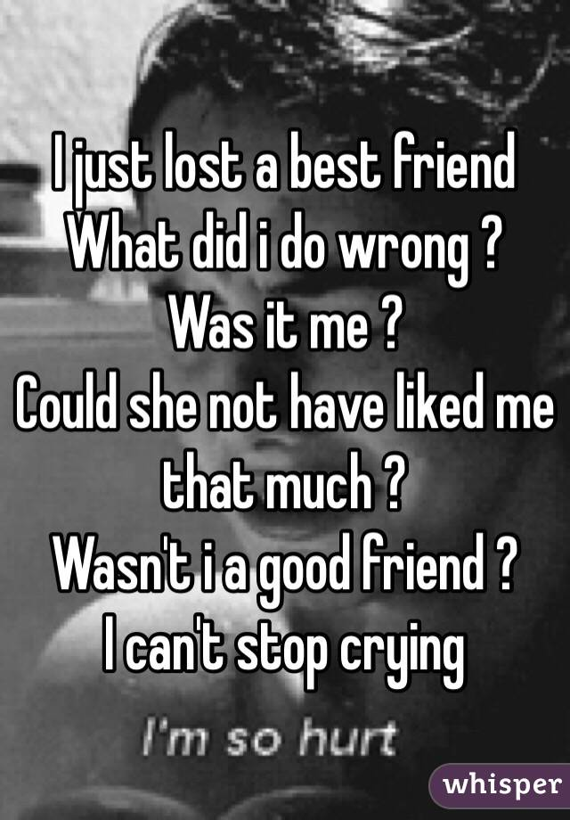 I Just Lost A Best Friend What Did I Do Wrong Was It Me Could Delectable Wrong Friend