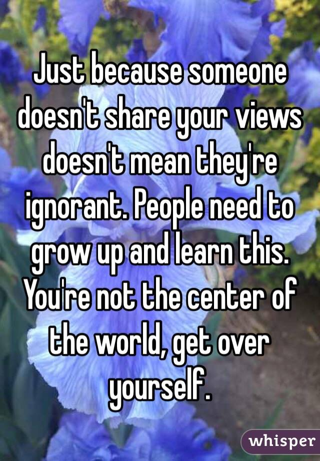 Just because someone doesn't share your views doesn't mean they're ignorant. People need to grow up and learn this. You're not the center of the world, get over yourself.