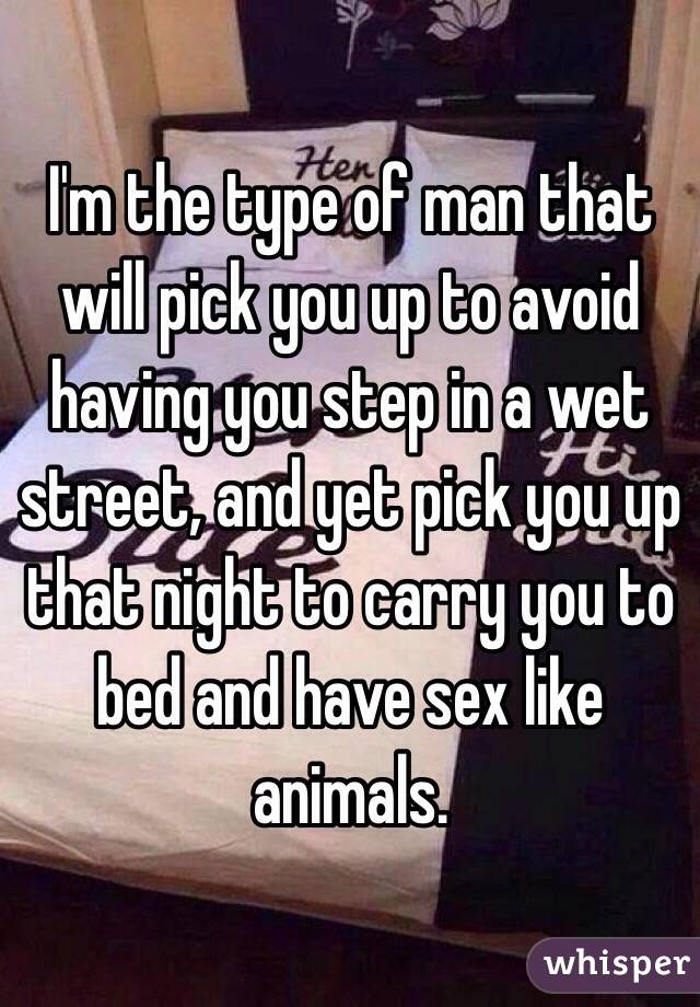 I'm the type of man that will pick you up to avoid having you step in a wet street, and yet pick you up that night to carry you to bed and have sex like animals.