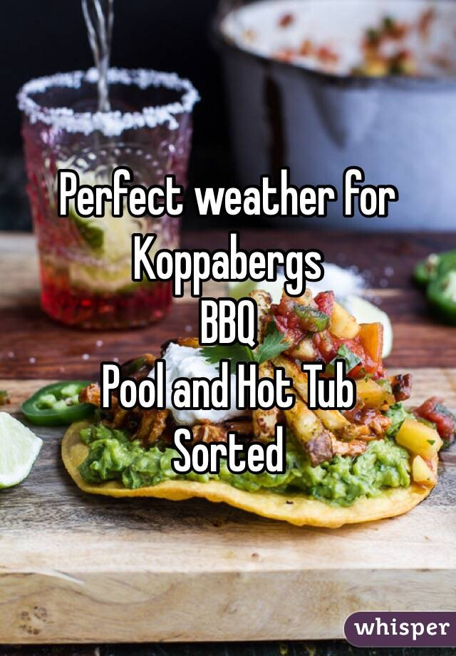 Perfect weather for Koppabergs BBQ  Pool and Hot Tub Sorted