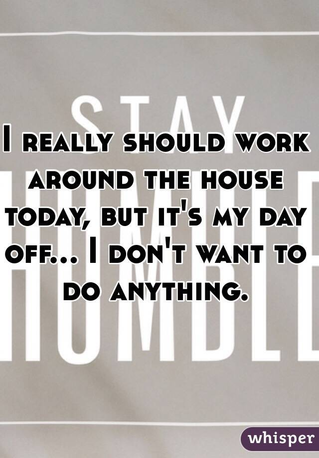 I really should work around the house today, but it's my day off... I don't want to do anything.