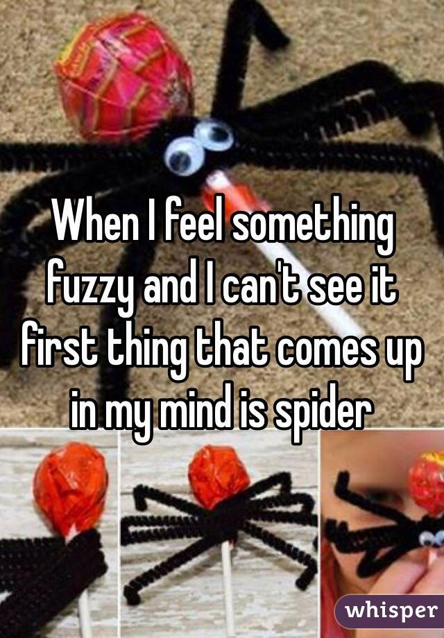When I feel something fuzzy and I can't see it first thing that comes up in my mind is spider