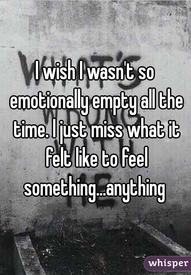 I wish I wasn't so emotionally empty all the time. I just miss what it felt like to feel something...anything