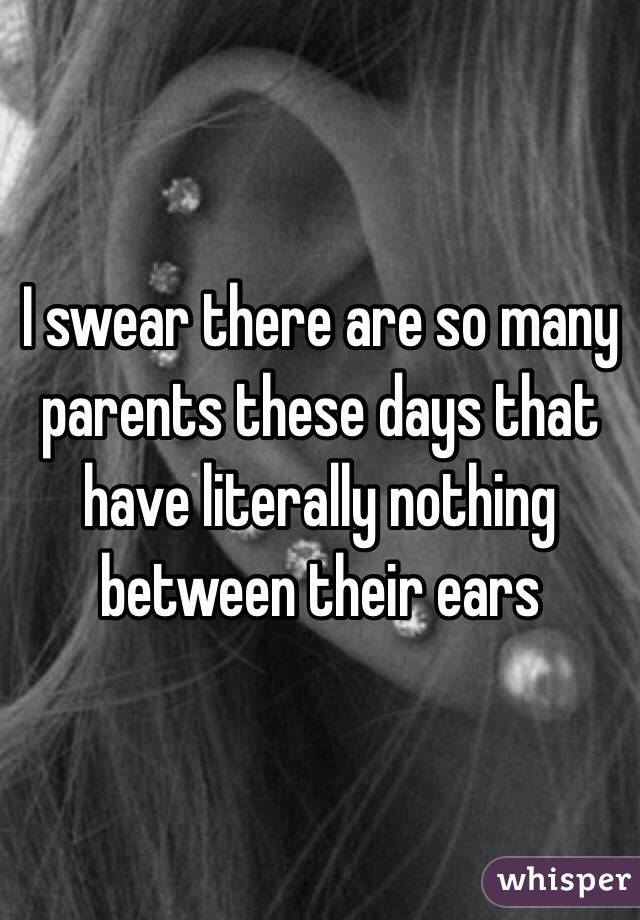 I swear there are so many parents these days that have literally nothing between their ears