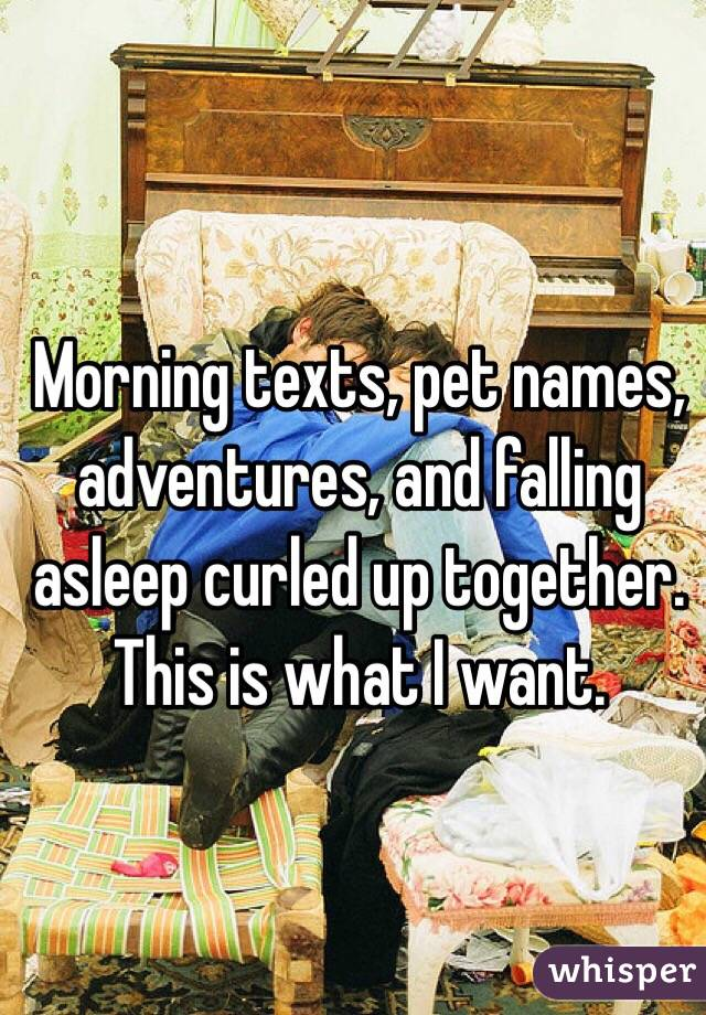 Morning texts, pet names, adventures, and falling asleep curled up together. This is what I want.