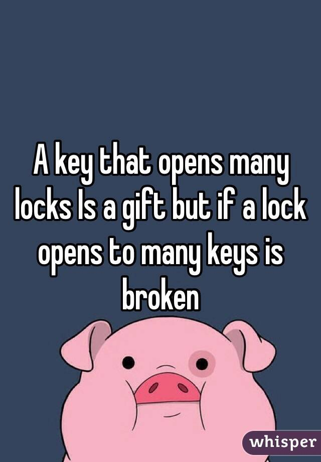 A key that opens many locks Is a gift but if a lock opens to many keys is broken