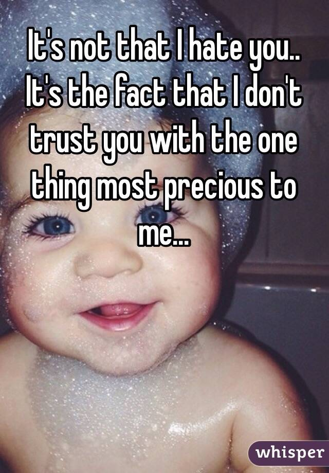 It's not that I hate you.. It's the fact that I don't trust you with the one thing most precious to me...