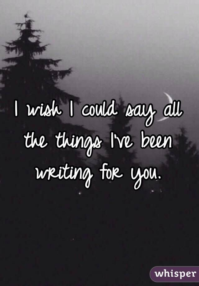 I wish I could say all the things I've been writing for you.
