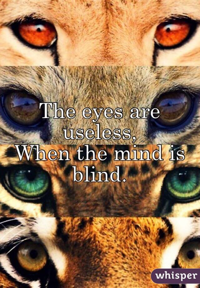 The eyes are useless, When the mind is blind.