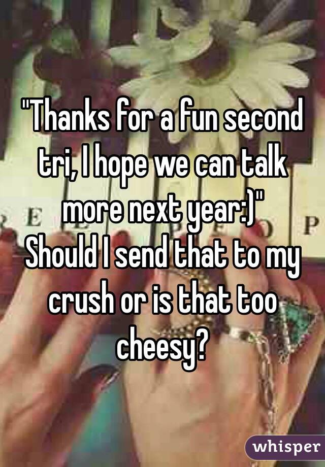 """Thanks for a fun second tri, I hope we can talk more next year:)"" Should I send that to my crush or is that too cheesy?"