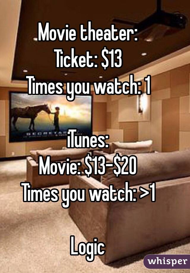 Movie theater: Ticket: $13 Times you watch: 1  iTunes: Movie: $13-$20 Times you watch: >1  Logic