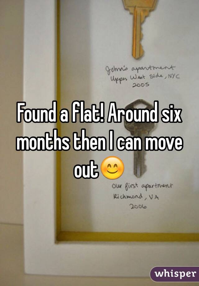 Found a flat! Around six months then I can move out😊