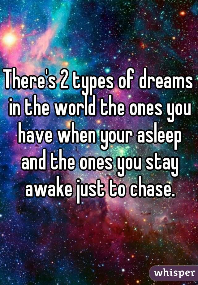 There's 2 types of dreams in the world the ones you have when your asleep and the ones you stay awake just to chase.
