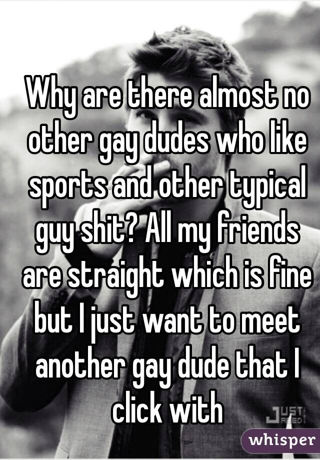 Why are there almost no other gay dudes who like sports and other typical guy shit? All my friends are straight which is fine but I just want to meet another gay dude that I click with