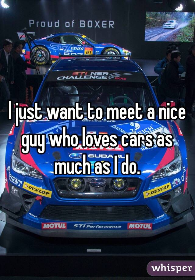 I just want to meet a nice guy who loves cars as much as I do.