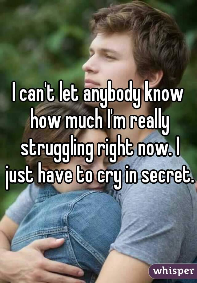 I can't let anybody know how much I'm really struggling right now. I just have to cry in secret.