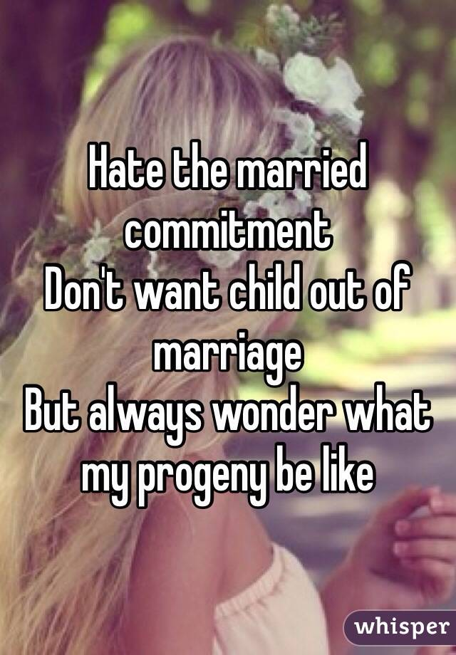 Hate the married commitment Don't want child out of marriage But always wonder what my progeny be like