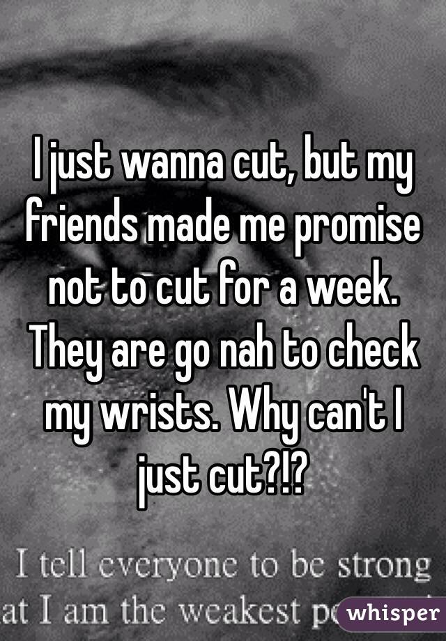 I just wanna cut, but my friends made me promise not to cut for a week. They are go nah to check my wrists. Why can't I just cut?!?