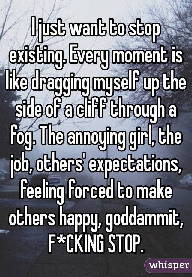 I just want to stop existing. Every moment is like dragging myself up the side of a cliff through a fog. The annoying girl, the job, others' expectations, feeling forced to make others happy, goddammit, F*CKING STOP.