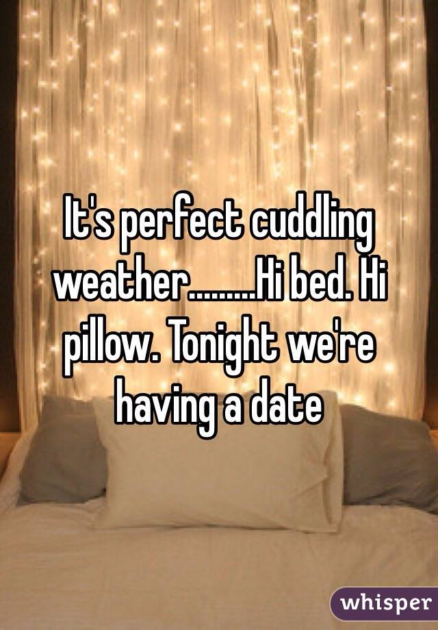 It's perfect cuddling weather.........Hi bed. Hi pillow. Tonight we're having a date