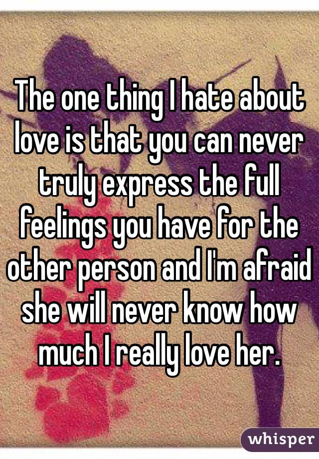 The one thing I hate about love is that you can never truly express the full feelings you have for the other person and I'm afraid she will never know how much I really love her.