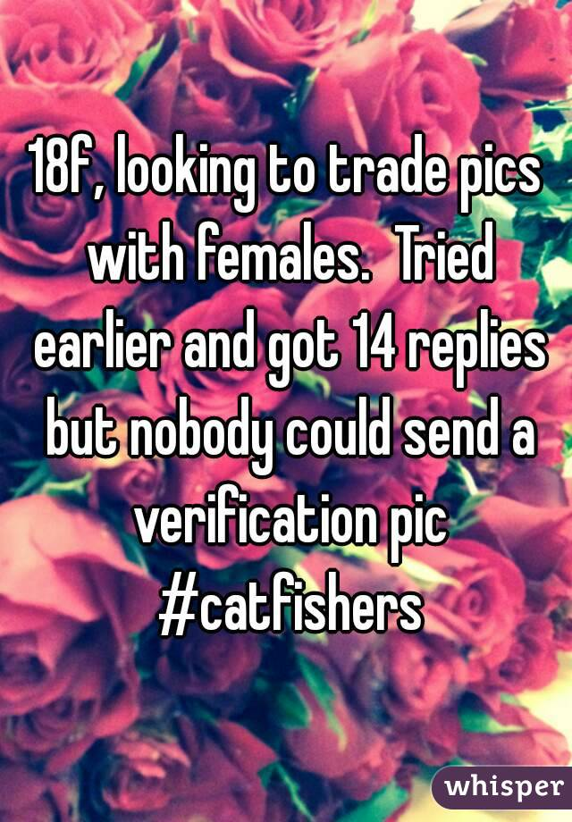 18f, looking to trade pics with females.  Tried earlier and got 14 replies but nobody could send a verification pic #catfishers