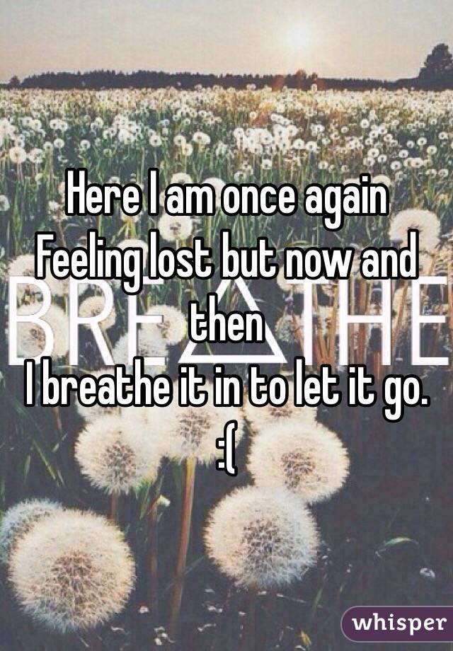 Here I am once again  Feeling lost but now and then I breathe it in to let it go.  :(