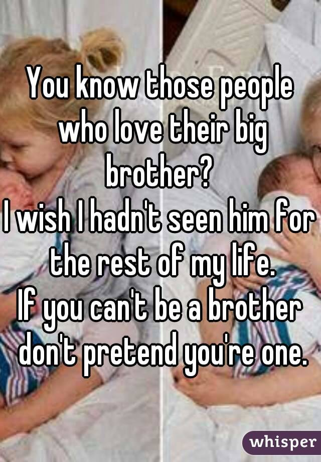 You know those people who love their big brother?  I wish I hadn't seen him for the rest of my life. If you can't be a brother don't pretend you're one.