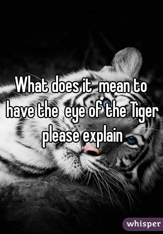 What does it  mean to have the  eye of the Tiger please explain