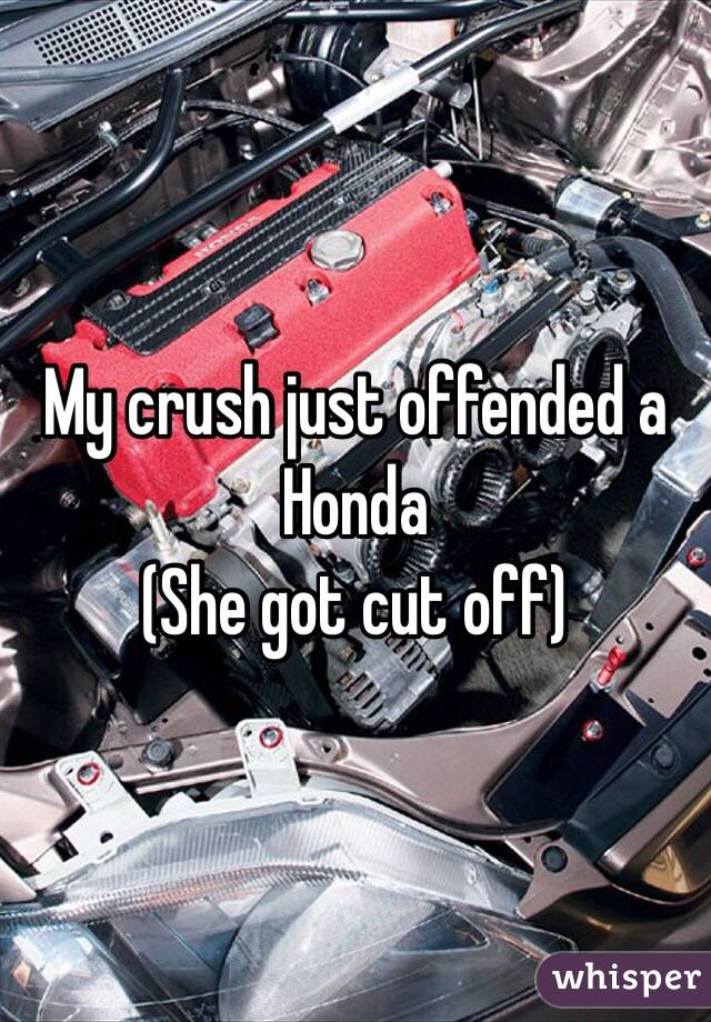My crush just offended a Honda (She got cut off)
