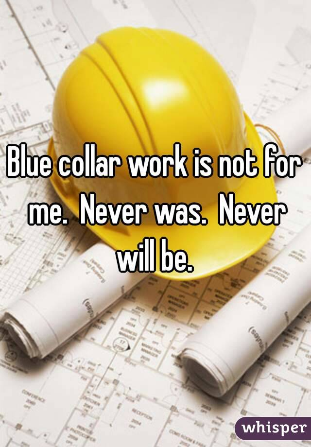 Blue collar work is not for me.  Never was.  Never will be.