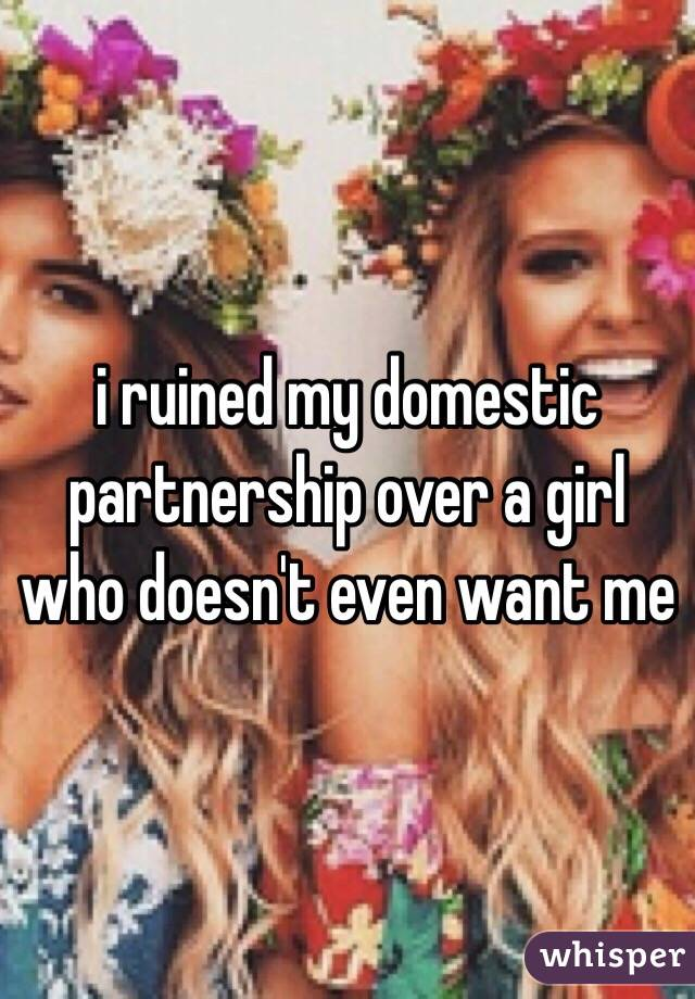 i ruined my domestic partnership over a girl who doesn't even want me