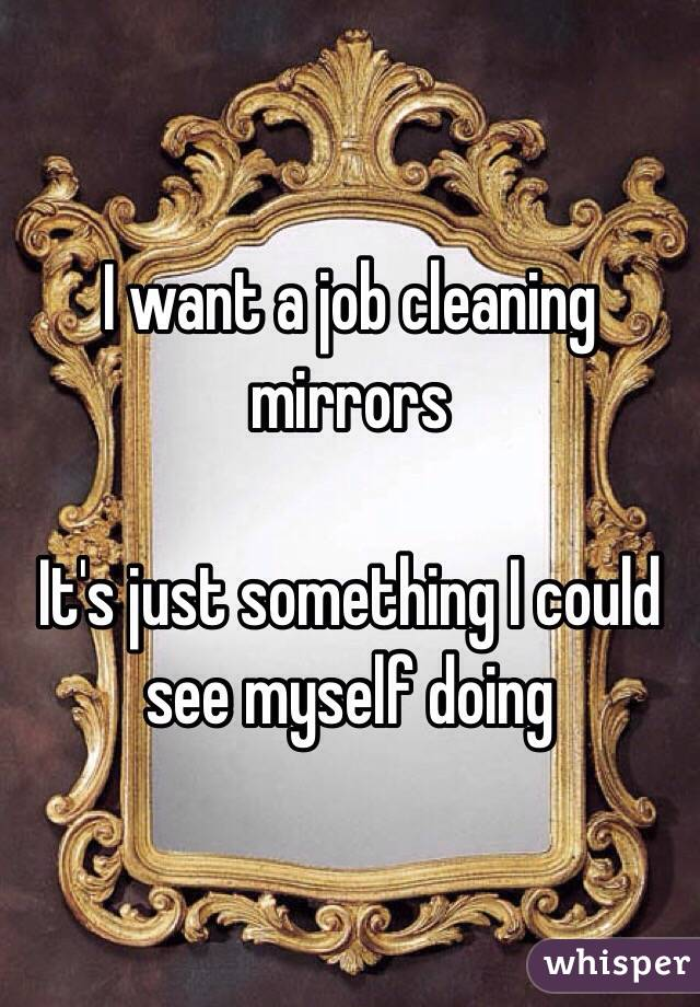 I want a job cleaning mirrors  It's just something I could see myself doing