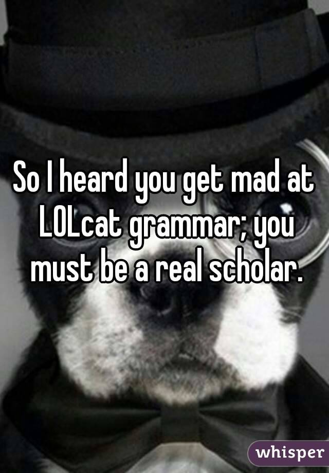 So I heard you get mad at LOLcat grammar; you must be a real scholar.