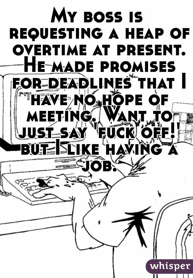 My boss is requesting a heap of overtime at present. He made promises for deadlines that I have no hope of meeting. Want to just say 'fuck off!' but I like having a job.