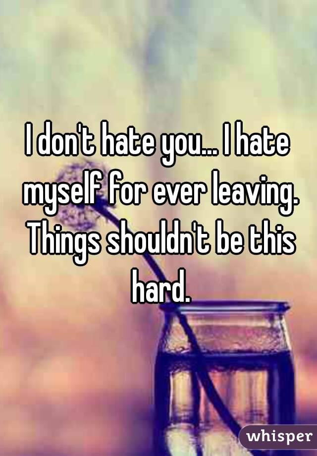 I don't hate you... I hate myself for ever leaving. Things shouldn't be this hard.