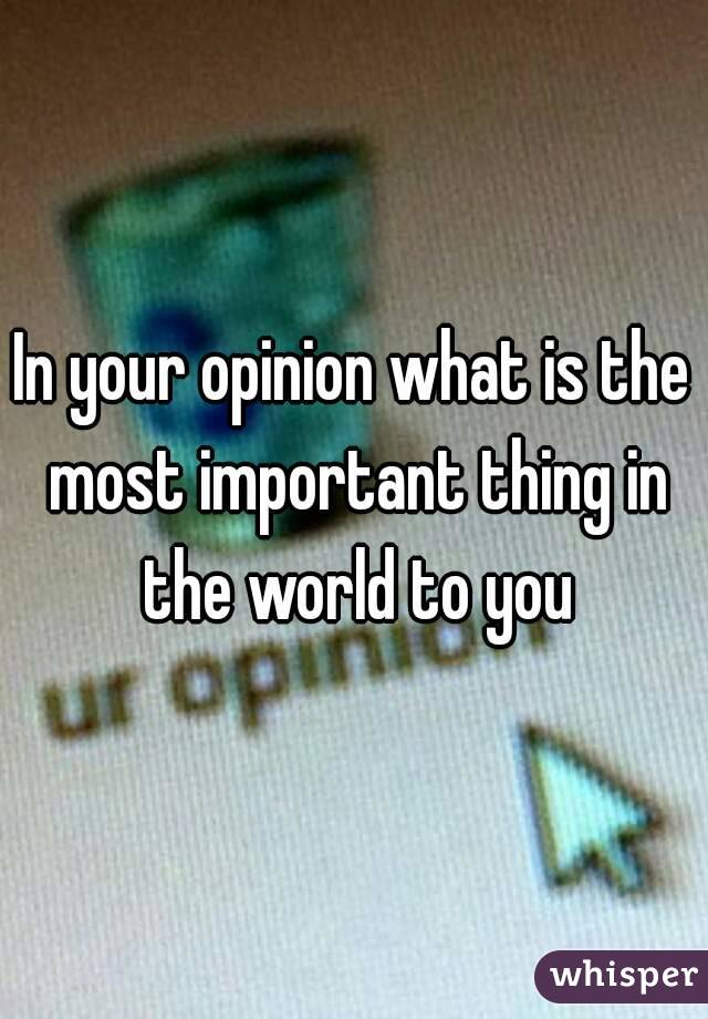 In your opinion what is the most important thing in the world to you