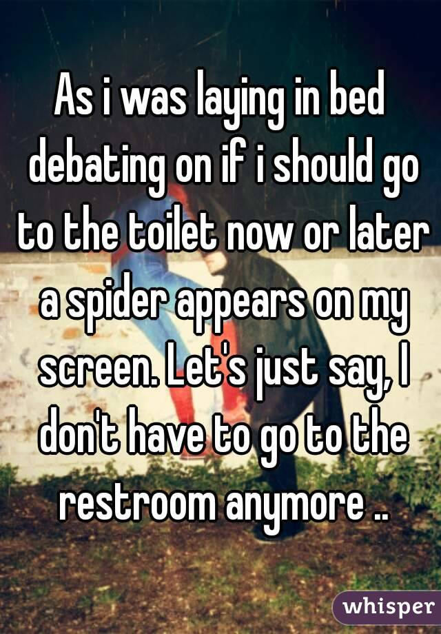 As i was laying in bed debating on if i should go to the toilet now or later a spider appears on my screen. Let's just say, I don't have to go to the restroom anymore ..